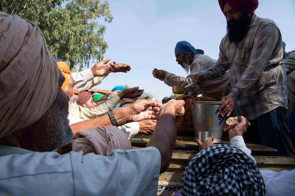 Food and refreshments are handed out for free, as is the Sikh practice of langar seva.